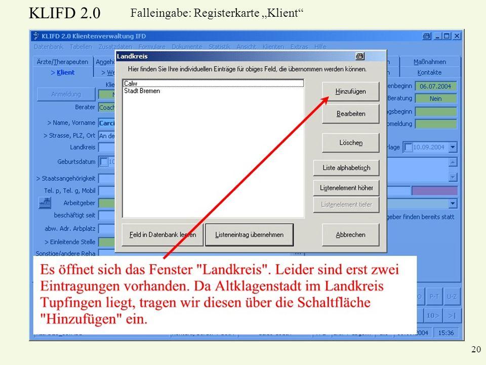 KLIFD 2.0 20 Falleingabe: Registerkarte Klient