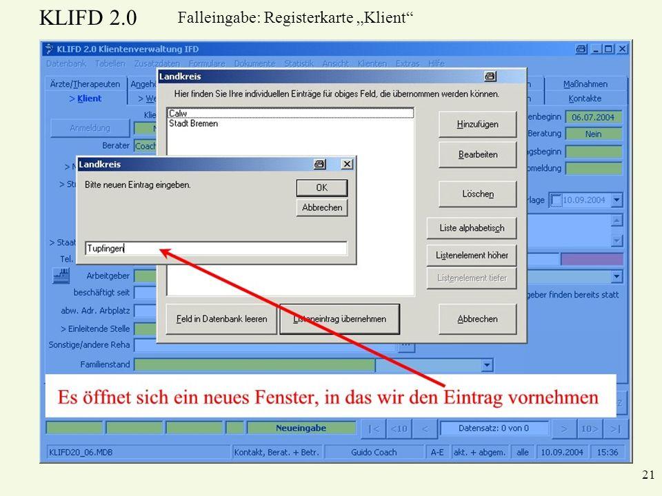 KLIFD 2.0 21 Falleingabe: Registerkarte Klient