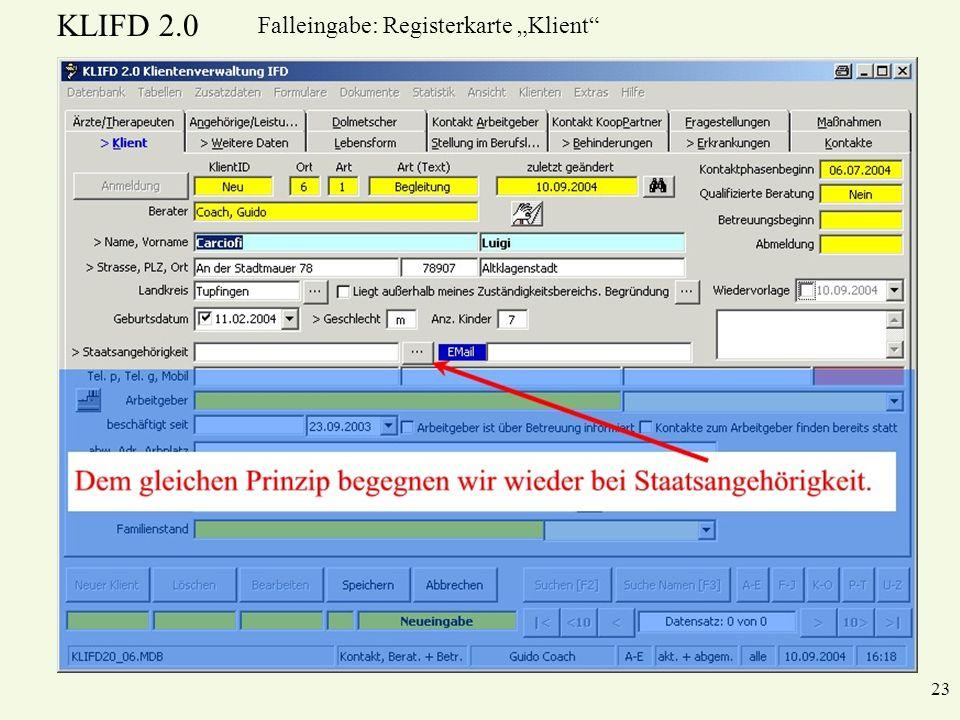 KLIFD 2.0 23 Falleingabe: Registerkarte Klient