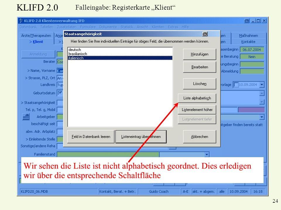 KLIFD 2.0 24 Falleingabe: Registerkarte Klient