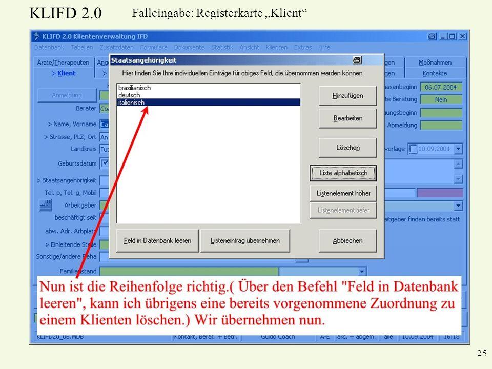 KLIFD 2.0 25 Falleingabe: Registerkarte Klient