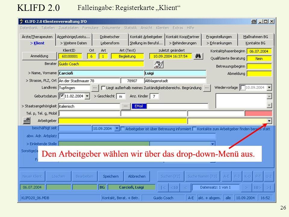 KLIFD 2.0 26 Falleingabe: Registerkarte Klient