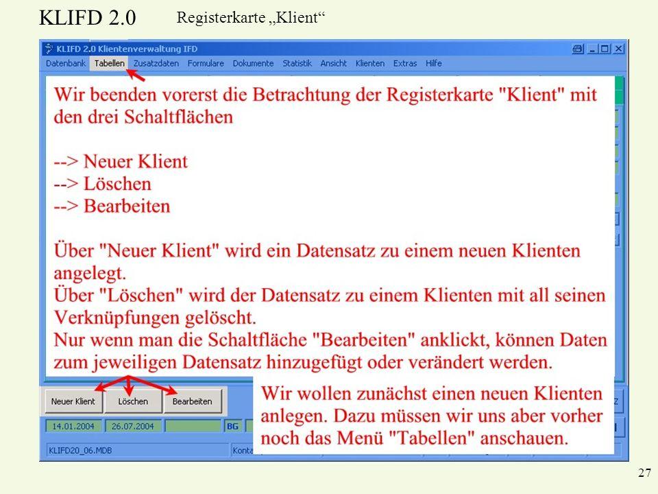 KLIFD 2.0 27 Registerkarte Klient