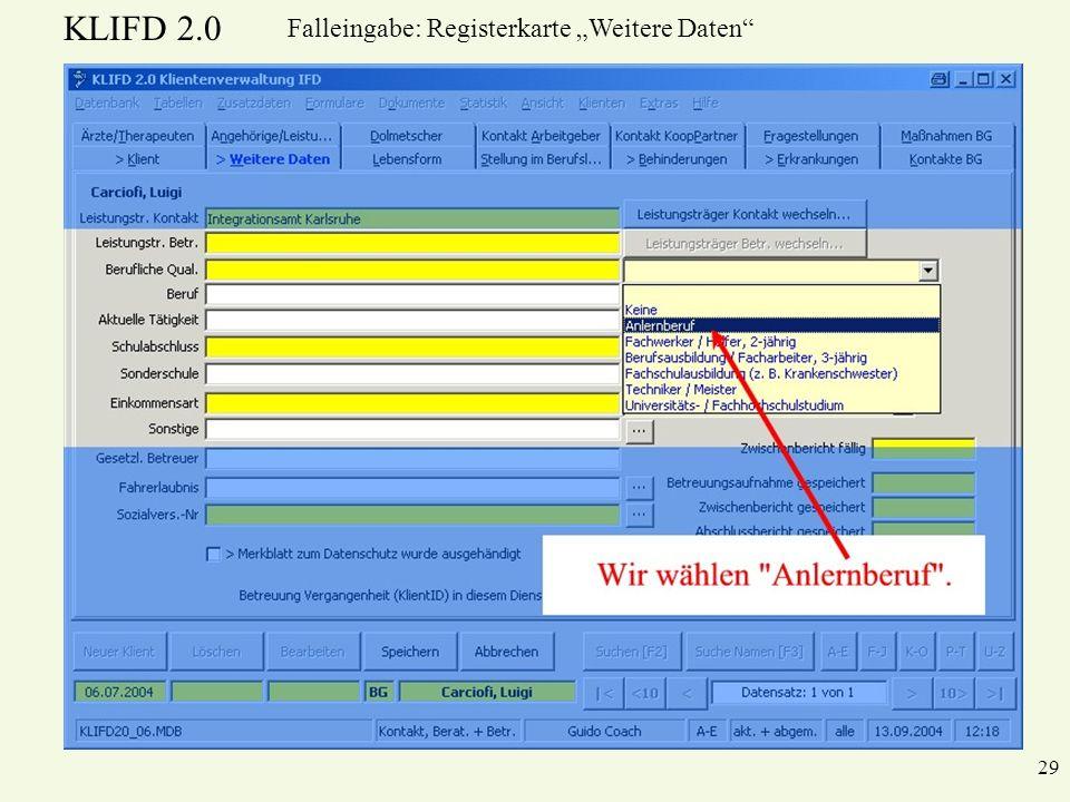 KLIFD 2.0 29 Falleingabe: Registerkarte Weitere Daten