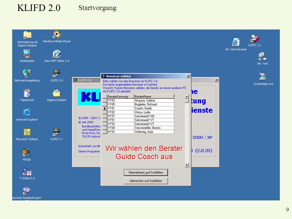 KLIFD 2.0 9 Startvorgang