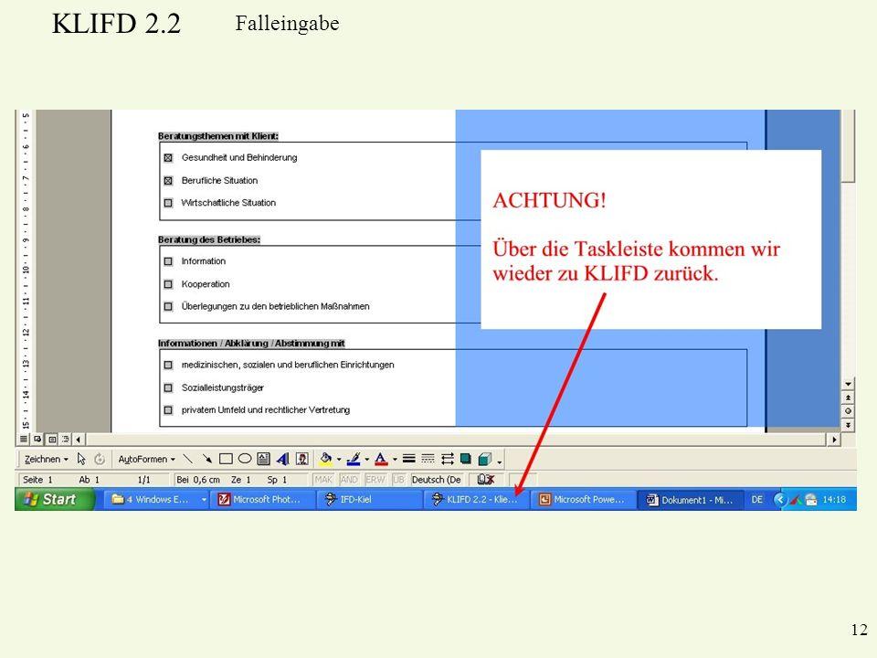 KLIFD 2.2 12 Falleingabe