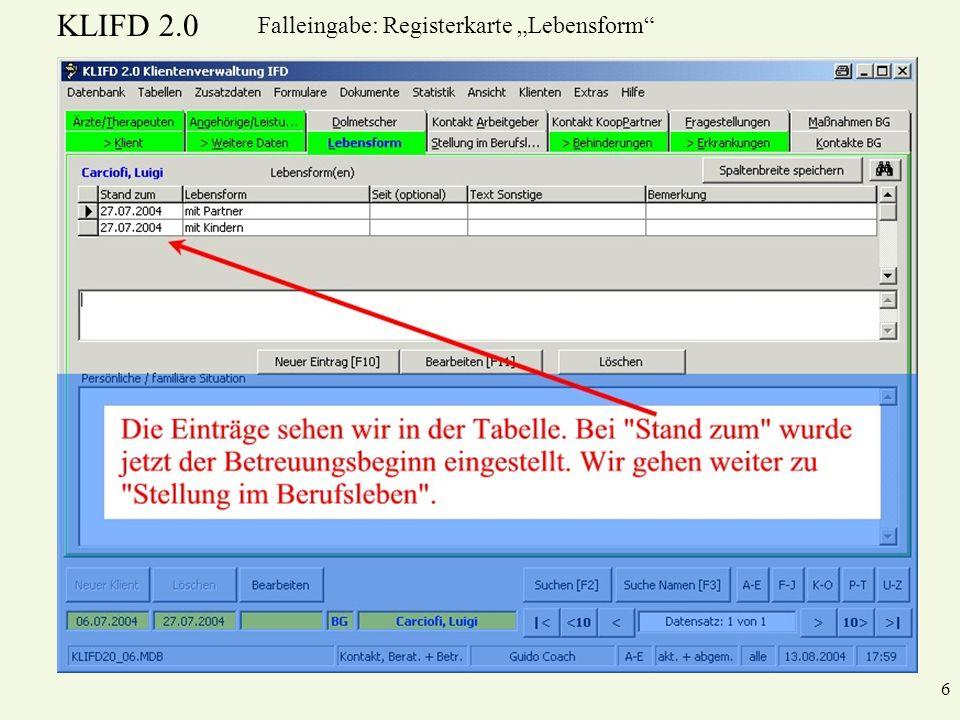 KLIFD 2.0 6 Falleingabe: Registerkarte Lebensform
