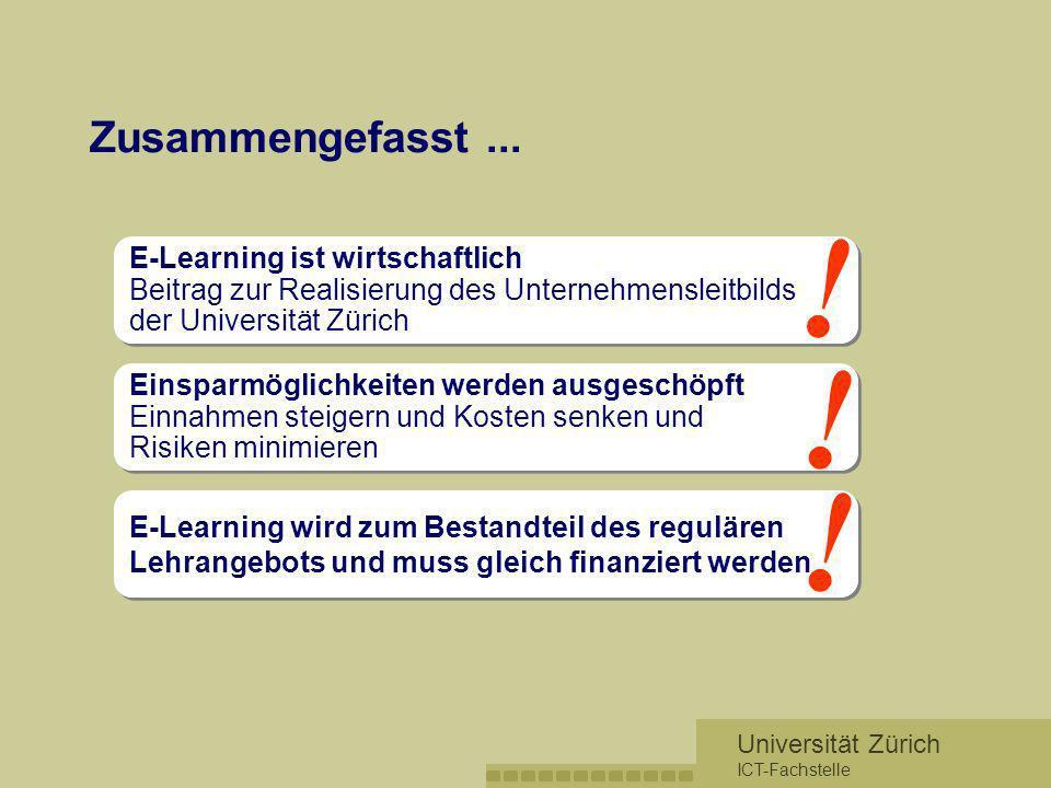 Universität Zürich ICT-Fachstelle Zusammengefasst... E-Learning ist wirtschaftlich Beitrag zur Realisierung des Unternehmensleitbilds der Universität