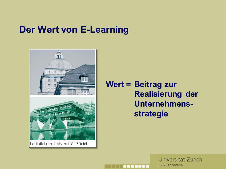Universität Zürich ICT-Fachstelle Der Wert von E-Learning »hohe Qualität sicherstellen »an internationalen Standards orientieren »Förderung der fachli