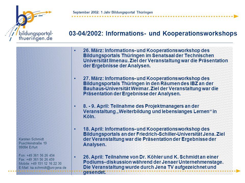 September 2002: 1 Jahr Bildungsportal Thüringen Karsten Schmidt Puschkinstraße 19 99084 Erfurt Fon: +49 361 56 26 454 Fax: +49 361 56 26 459 Mobile: +