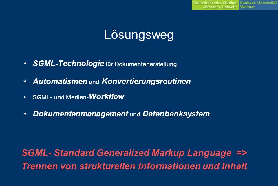 Ziel Papierform und Computergestütztes Lernen –multimedial gestützte Lernumgebungen –Offline- und Online- Studienangebot Ausgabeformate für print/screen bzw.