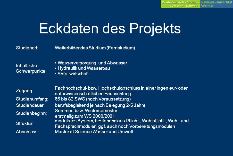 Studienart:Weiterbildendes Studium (Fernstudium) Inhaltliche Schwerpunkte: Wasserversorgung und Abwasser Hydraulik und Wasserbau Abfallwirtschaft Zugang: Fachhochschul- bzw.