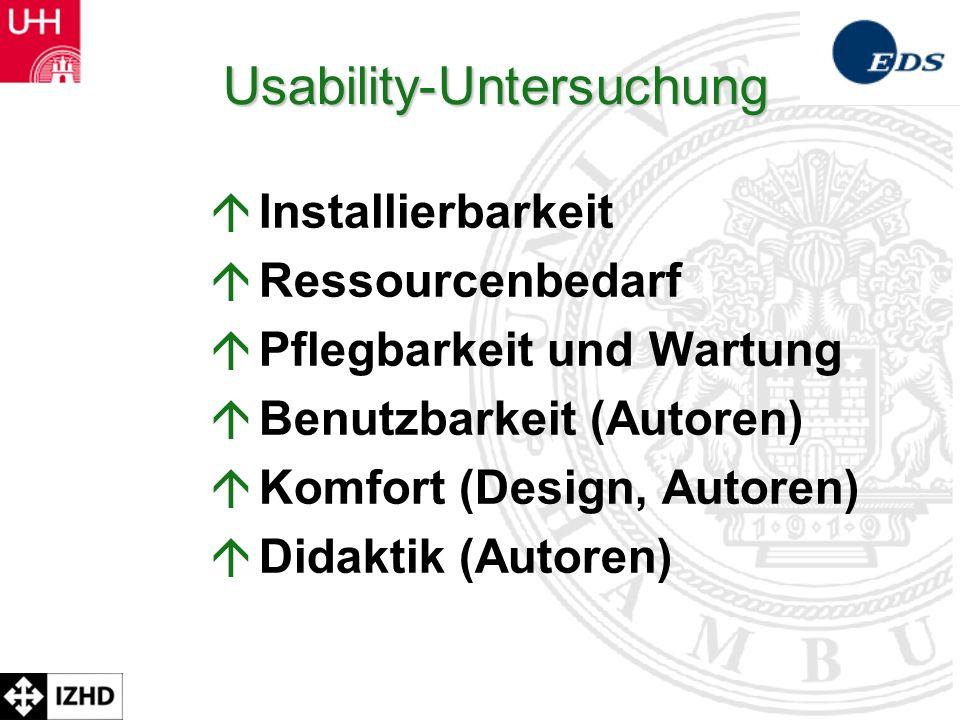 Prof. Dr. Rolf Schulmeister Usability-Untersuchung á Installierbarkeit á Ressourcenbedarf á Pflegbarkeit und Wartung á Benutzbarkeit (Autoren) á Komfo
