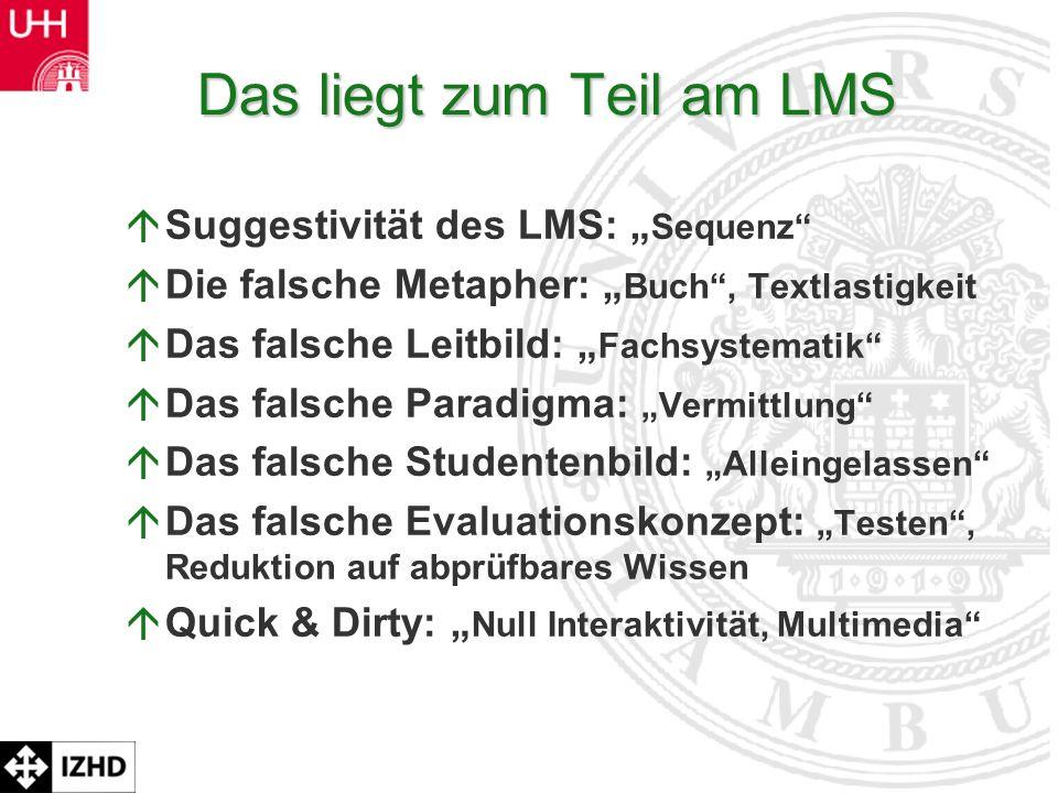 Prof. Dr. Rolf Schulmeister Das liegt zum Teil am LMS áSuggestivität des LMS: Sequenz áDie falsche Metapher: Buch, Textlastigkeit áDas falsche Leitbil