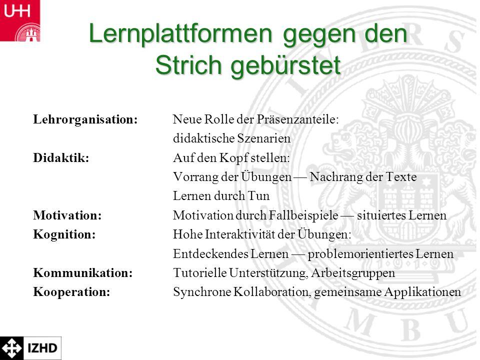 Prof. Dr. Rolf Schulmeister Lernplattformen gegen den Strich gebürstet Lehrorganisation:Neue Rolle der Präsenzanteile: didaktische Szenarien Didaktik: