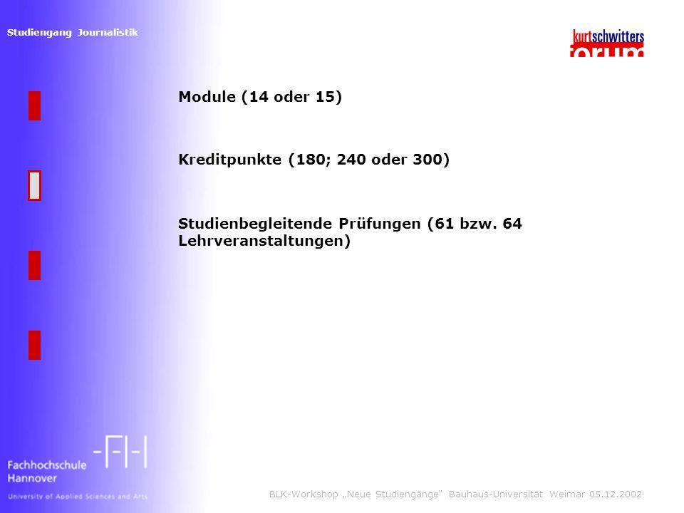 Studiengang Journalistik BLK-Workshop Neue Studiengänge Bauhaus-Universität Weimar 05.12.2002 Module (14 oder 15) Kreditpunkte (180; 240 oder 300) Studienbegleitende Prüfungen (61 bzw.
