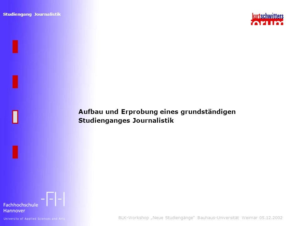 Studiengang Journalistik BLK-Workshop Neue Studiengänge Bauhaus-Universität Weimar 05.12.2002 Aufbau und Erprobung eines grundständigen Studienganges Journalistik