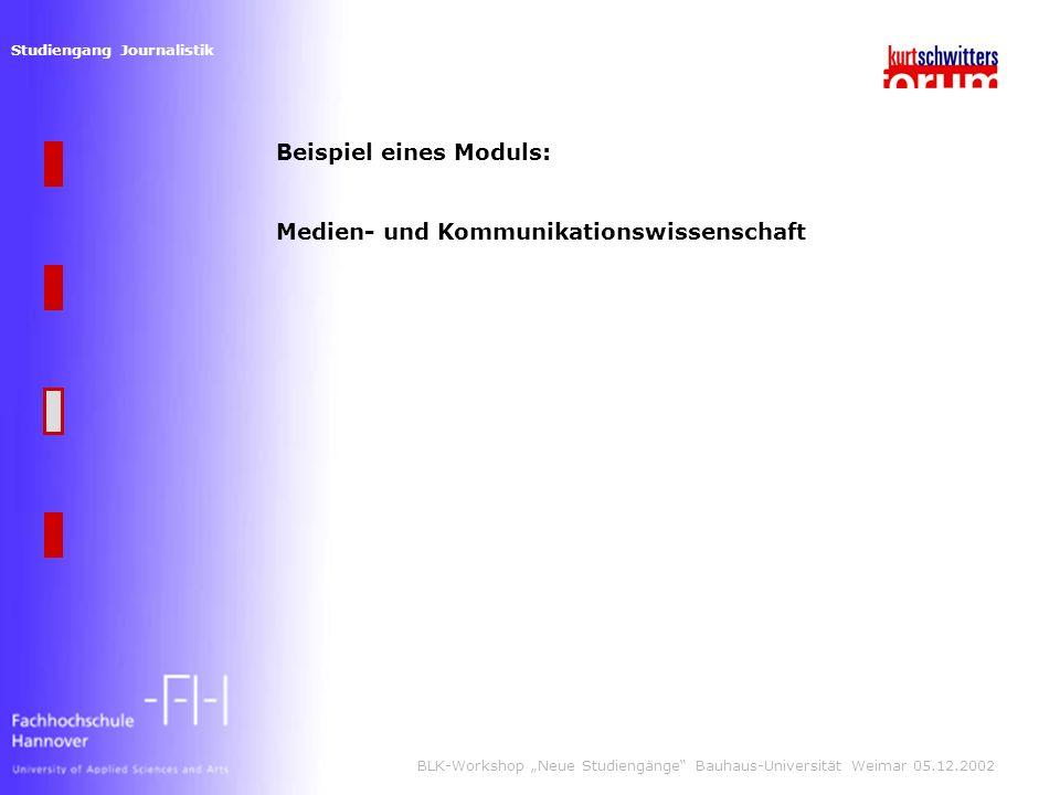 Studiengang Journalistik BLK-Workshop Neue Studiengänge Bauhaus-Universität Weimar 05.12.2002 Beispiel eines Moduls: Medien- und Kommunikationswissenschaft