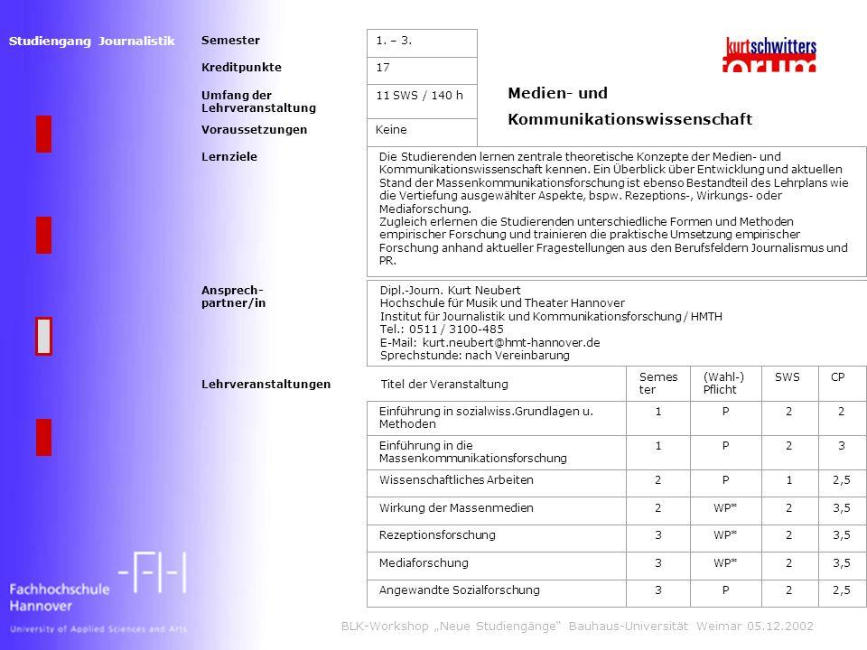 Studiengang Journalistik BLK-Workshop Neue Studiengänge Bauhaus-Universität Weimar 05.12.2002 Semester1.