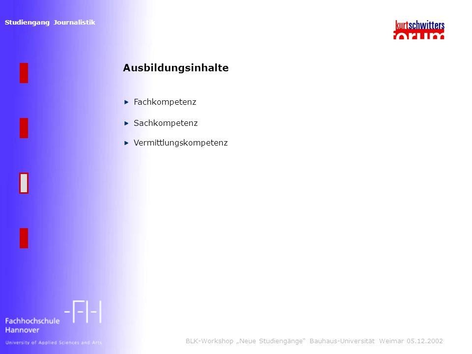 Studiengang Journalistik BLK-Workshop Neue Studiengänge Bauhaus-Universität Weimar 05.12.2002 Ausbildungsinhalte Fachkompetenz Sachkompetenz Vermittlungskompetenz