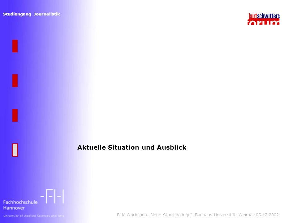 Studiengang Journalistik BLK-Workshop Neue Studiengänge Bauhaus-Universität Weimar 05.12.2002 Aktuelle Situation und Ausblick