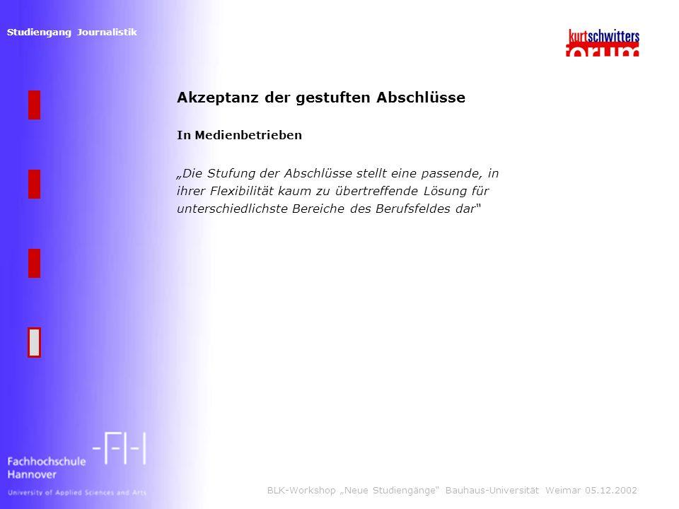 Studiengang Journalistik BLK-Workshop Neue Studiengänge Bauhaus-Universität Weimar 05.12.2002 Akzeptanz der gestuften Abschlüsse In Medienbetrieben Die Stufung der Abschlüsse stellt eine passende, in ihrer Flexibilität kaum zu übertreffende Lösung für unterschiedlichste Bereiche des Berufsfeldes dar