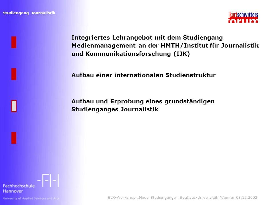 Studiengang Journalistik BLK-Workshop Neue Studiengänge Bauhaus-Universität Weimar 05.12.2002 Integriertes Lehrangebot mit dem Studiengang Medienmanagement an der HMTH/Institut für Journalistik und Kommunikationsforschung (IJK) Aufbau und Erprobung eines grundständigen Studienganges Journalistik Aufbau einer internationalen Studienstruktur