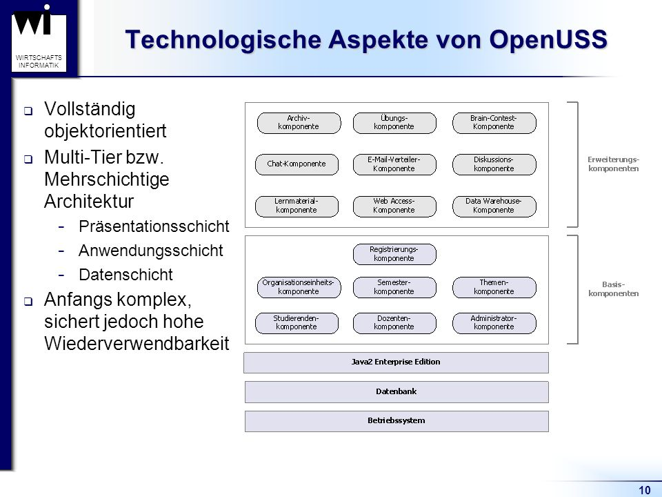 10 WIRTSCHAFTS INFORMATIK Technologische Aspekte von OpenUSS Vollständig objektorientiert Multi-Tier bzw. Mehrschichtige Architektur  Präsentationssc