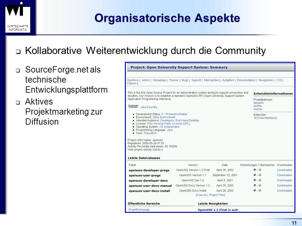 11 WIRTSCHAFTS INFORMATIK Organisatorische Aspekte Kollaborative Weiterentwicklung durch die Community SourceForge.net als technische Entwicklungsplattform Aktives Projektmarketing zur Diffusion