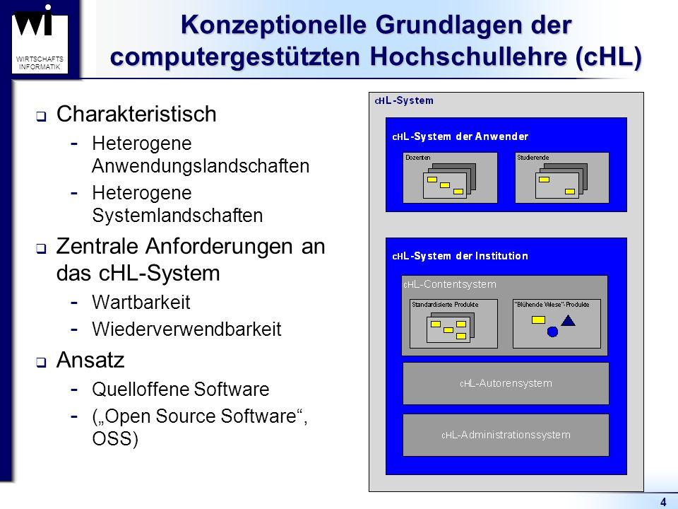 4 WIRTSCHAFTS INFORMATIK Konzeptionelle Grundlagen der computergestützten Hochschullehre (cHL) Charakteristisch  Heterogene Anwendungslandschaften  Heterogene Systemlandschaften Zentrale Anforderungen an das cHL-System  Wartbarkeit  Wiederverwendbarkeit Ansatz  Quelloffene Software  (Open Source Software, OSS)