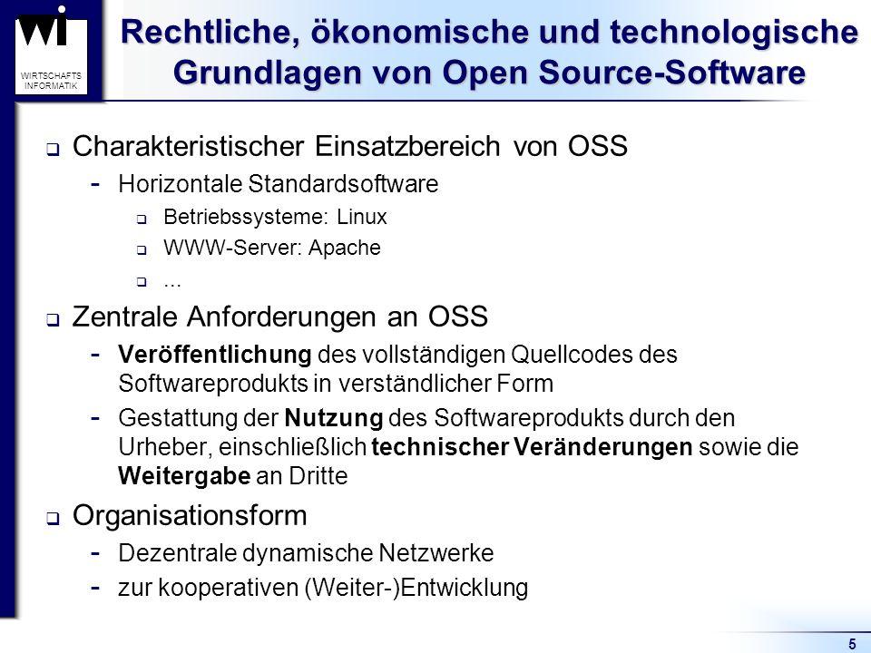 5 WIRTSCHAFTS INFORMATIK Rechtliche, ökonomische und technologische Grundlagen von Open Source-Software Charakteristischer Einsatzbereich von OSS  Horizontale Standardsoftware Betriebssysteme: Linux WWW-Server: Apache...