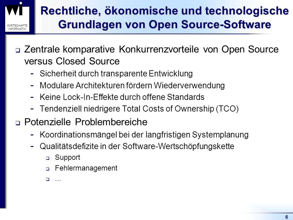 6 WIRTSCHAFTS INFORMATIK Rechtliche, ökonomische und technologische Grundlagen von Open Source-Software Zentrale komparative Konkurrenzvorteile von Op