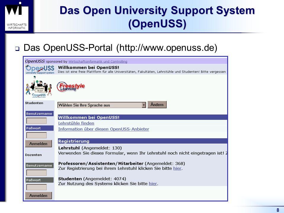 8 WIRTSCHAFTS INFORMATIK Das Open University Support System (OpenUSS) Das OpenUSS-Portal (http://www.openuss.de)