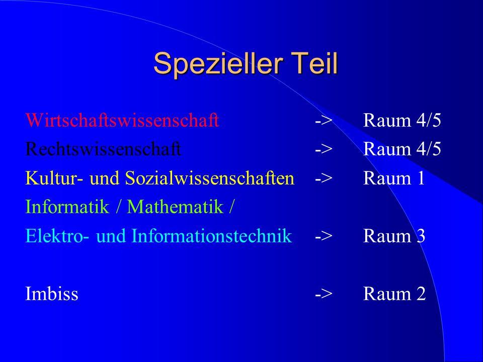 Spezieller Teil Spezieller Teil Wirtschaftswissenschaft ->Raum 4/5 Rechtswissenschaft->Raum 4/5 Kultur- und Sozialwissenschaften->Raum 1 Informatik /