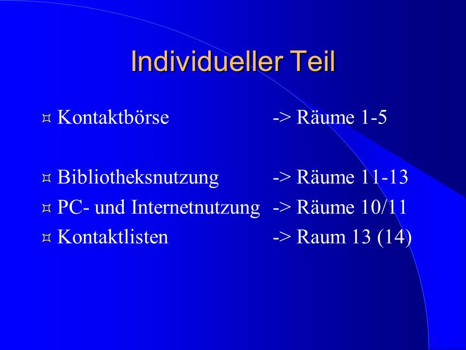 Individueller Teil ³ Kontaktbörse-> Räume 1-5 ³ Bibliotheksnutzung-> Räume 11-13 ³ PC- und Internetnutzung-> Räume 10/11 ³ Kontaktlisten-> Raum 13 (14)