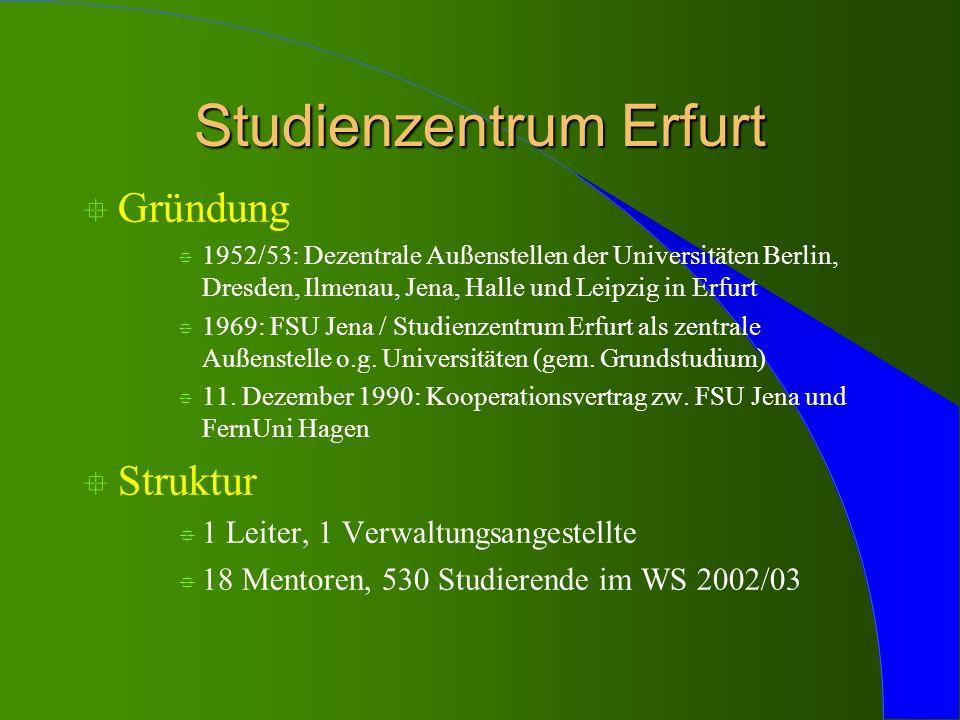 Studienzentrum Erfurt ° Gründung ° 1952/53: Dezentrale Außenstellen der Universitäten Berlin, Dresden, Ilmenau, Jena, Halle und Leipzig in Erfurt ° 19
