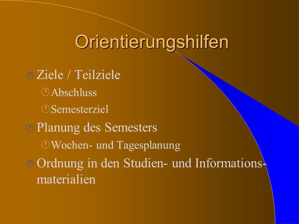 Orientierungshilfen · Ziele / Teilziele ·Abschluss ·Semesterziel · Planung des Semesters ·Wochen- und Tagesplanung · Ordnung in den Studien- und Informations- materialien
