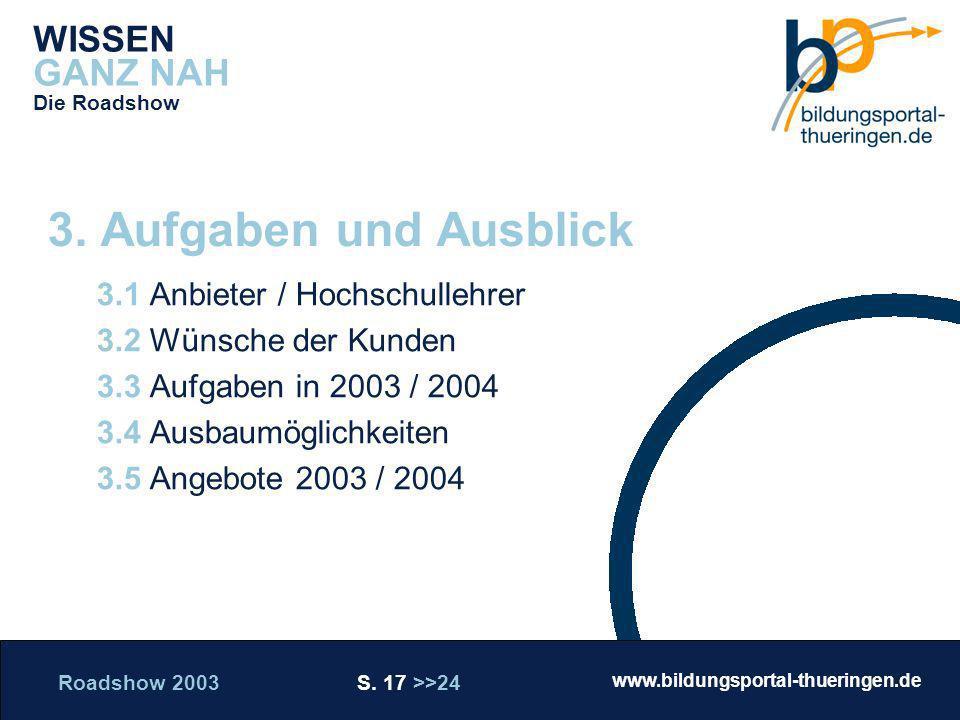Roadshow 2003 S. 17 >>24 www.bildungsportal-thueringen.de WISSEN GANZ NAH Die Roadshow 3.