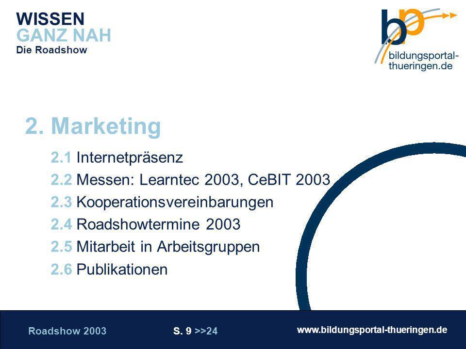 Roadshow 2003 S. 9 >>24 www.bildungsportal-thueringen.de WISSEN GANZ NAH Die Roadshow 2.