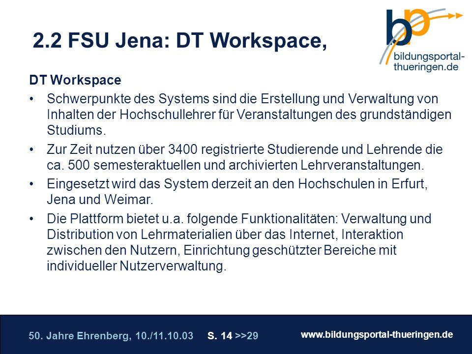 50. Jahre Ehrenberg, 10./11.10.03 S. 14 >>29 www.bildungsportal-thueringen.de WISSEN GANZ NAH Die Roadshow 2.2 FSU Jena: DT Workspace, DT Workspace Sc