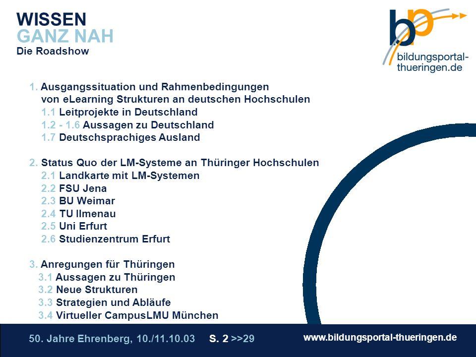 50. Jahre Ehrenberg, 10./11.10.03 S. 2 >>29 www.bildungsportal-thueringen.de WISSEN GANZ NAH Die Roadshow WISSEN GANZ NAH Die Roadshow 1. Ausgangssitu