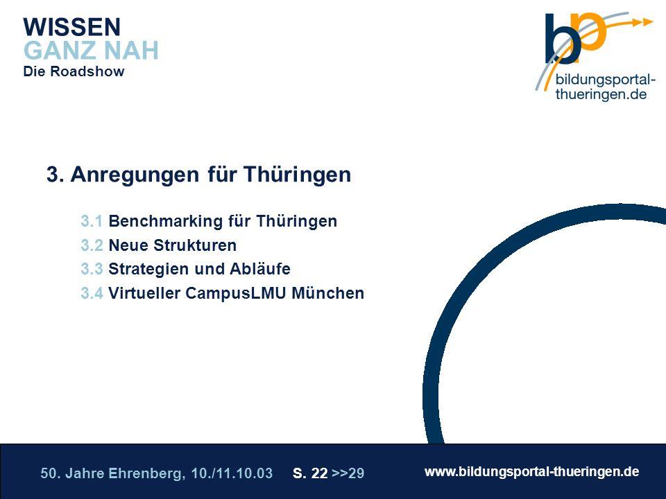 50. Jahre Ehrenberg, 10./11.10.03 S. 22 >>29 www.bildungsportal-thueringen.de WISSEN GANZ NAH Die Roadshow 3. Anregungen für Thüringen 3.1 Benchmarkin