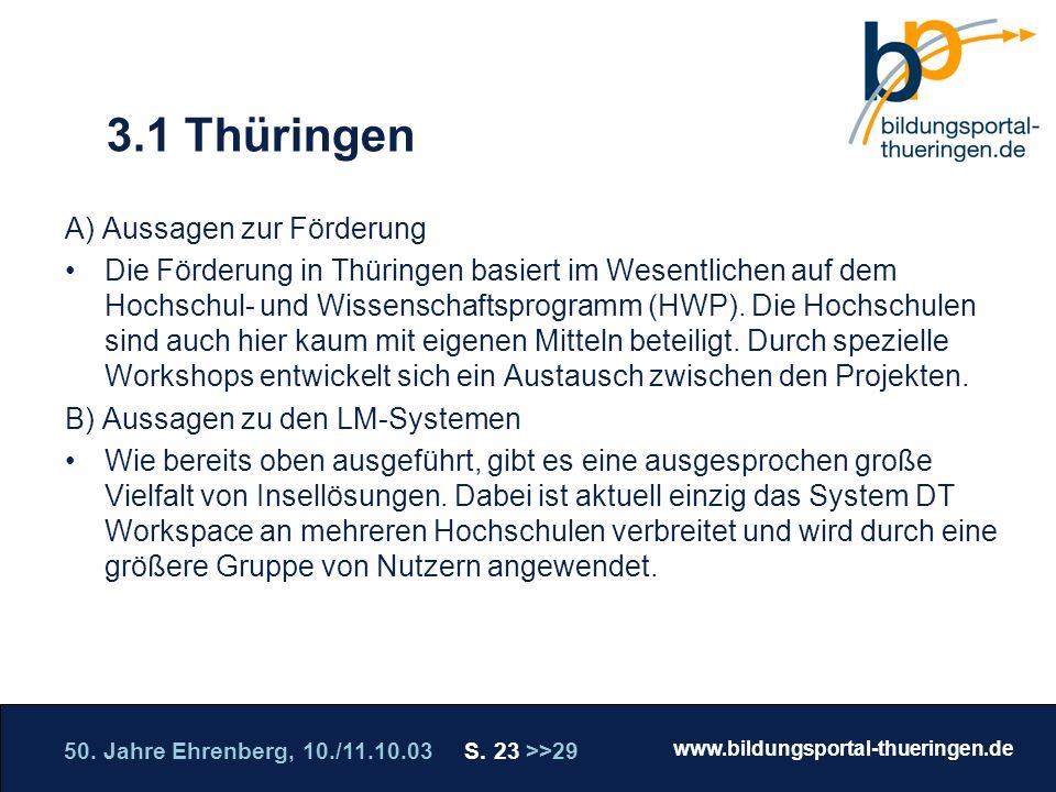 50. Jahre Ehrenberg, 10./11.10.03 S. 23 >>29 www.bildungsportal-thueringen.de WISSEN GANZ NAH Die Roadshow 3.1 Thüringen A) Aussagen zur Förderung Die