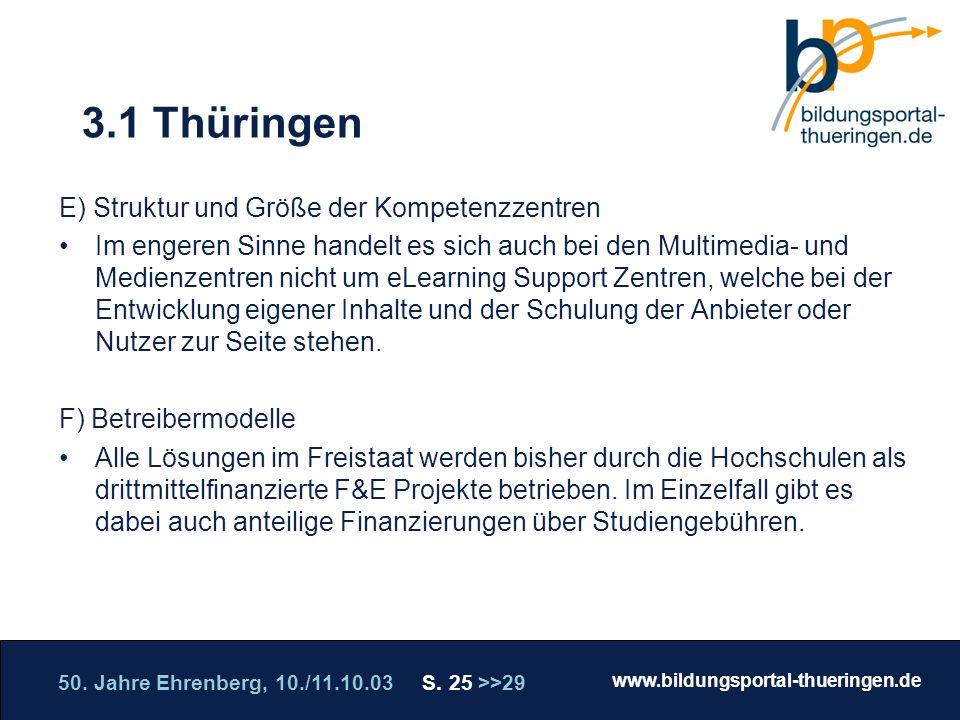 50. Jahre Ehrenberg, 10./11.10.03 S. 25 >>29 www.bildungsportal-thueringen.de WISSEN GANZ NAH Die Roadshow 3.1 Thüringen E) Struktur und Größe der Kom