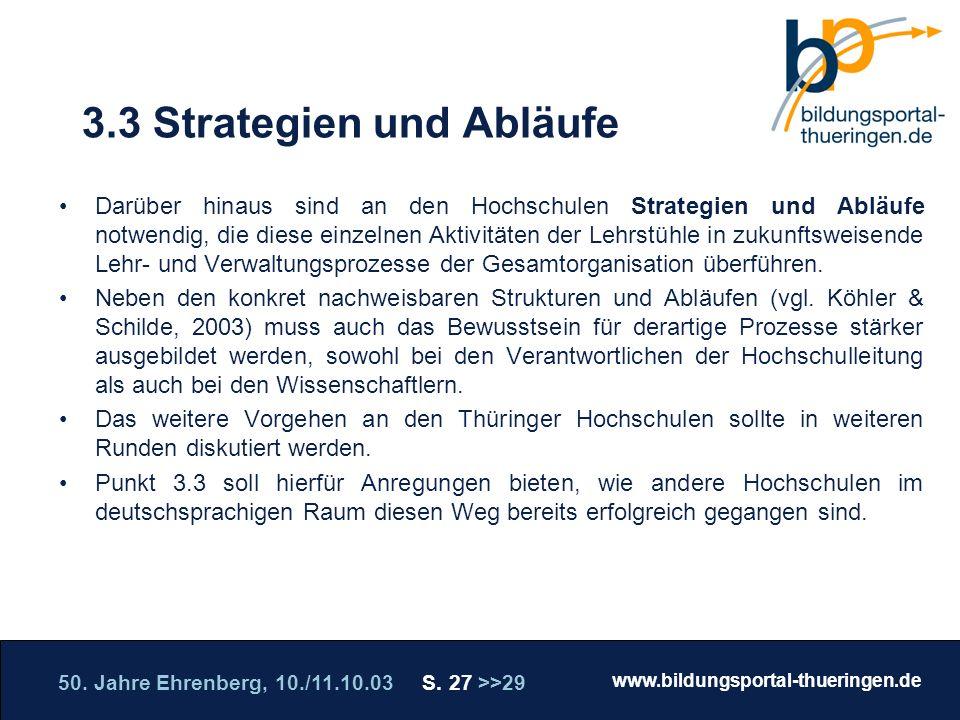 50. Jahre Ehrenberg, 10./11.10.03 S. 27 >>29 www.bildungsportal-thueringen.de WISSEN GANZ NAH Die Roadshow 3.3 Strategien und Abläufe Darüber hinaus s