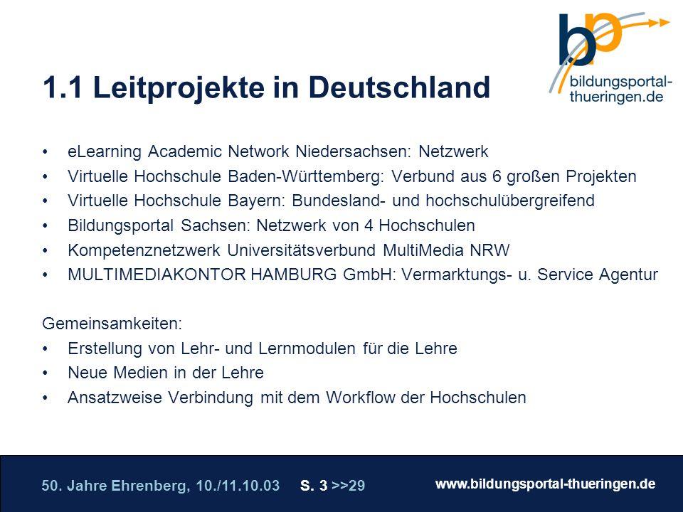 50. Jahre Ehrenberg, 10./11.10.03 S. 3 >>29 www.bildungsportal-thueringen.de WISSEN GANZ NAH Die Roadshow 1.1 Leitprojekte in Deutschland eLearning Ac