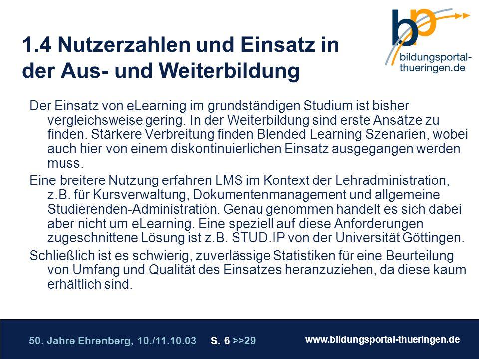 50. Jahre Ehrenberg, 10./11.10.03 S. 6 >>29 www.bildungsportal-thueringen.de WISSEN GANZ NAH Die Roadshow 1.4 Nutzerzahlen und Einsatz in der Aus- und