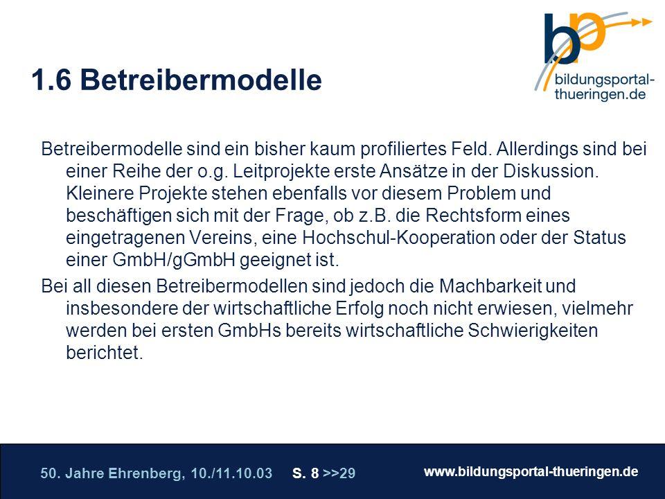 50. Jahre Ehrenberg, 10./11.10.03 S. 8 >>29 www.bildungsportal-thueringen.de WISSEN GANZ NAH Die Roadshow 1.6 Betreibermodelle Betreibermodelle sind e