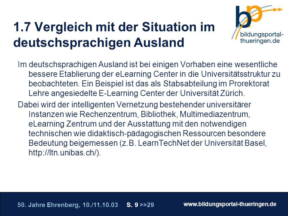 50. Jahre Ehrenberg, 10./11.10.03 S. 9 >>29 www.bildungsportal-thueringen.de WISSEN GANZ NAH Die Roadshow 1.7 Vergleich mit der Situation im deutschsp