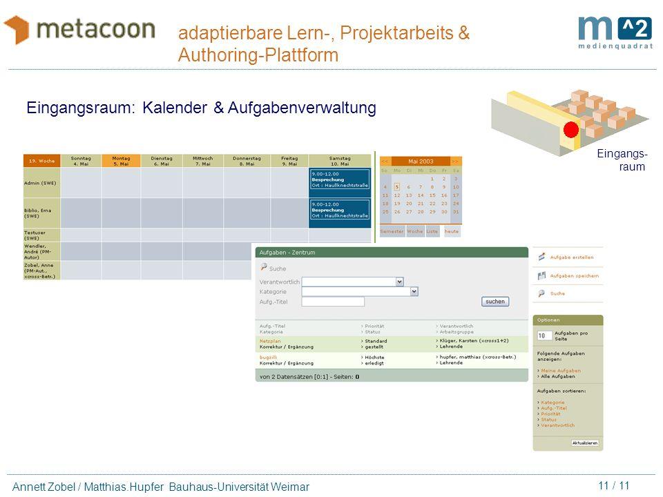 10 / 11 Annett Zobel / Matthias.Hupfer Bauhaus-Universität Weimar adaptierbare Lern-, Projektarbeits & Authoring-Plattform Eingangsraum: Dateimanager